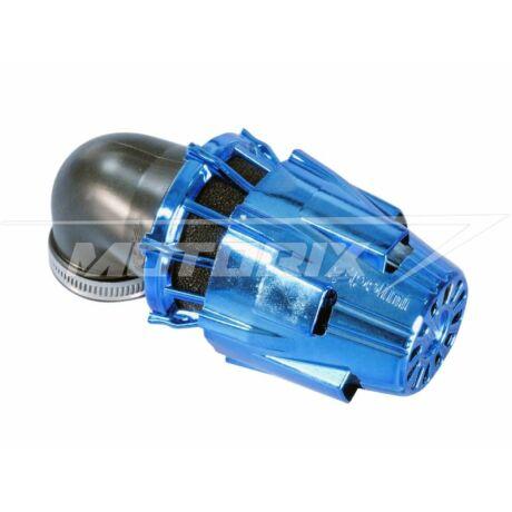 Levegőszűrő 32mm 90° Racing kék króm védőházas Polini