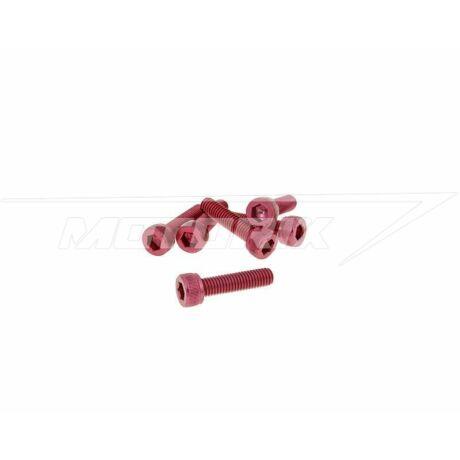 Csavar szett hatszögletű alumínium piros 6 db-os M5x20 V-parts