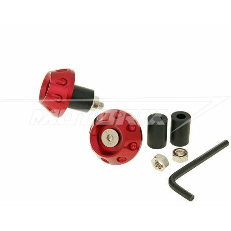 Kormányvég pár bordás piros 13,5/17,5mm CNC-mart V-parts
